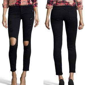 Denim - Frame Le Skinny Jeanne Black Stretch Ripped  Jeans